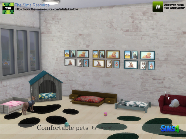Sims 4 Comfortable pet beds by kardofe at TSR