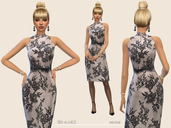 Sims 4 Silk&Lace dress by Paogae at TSR