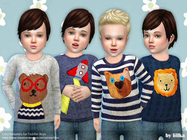 Sims 4 Cozy Sweaters for Little Boys by lillka at TSR