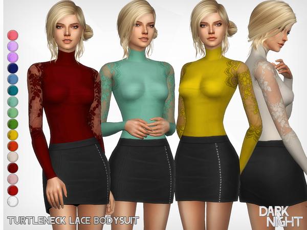 Sims 4 Turtleneck Lace Bodysuit by DarkNighTt at TSR