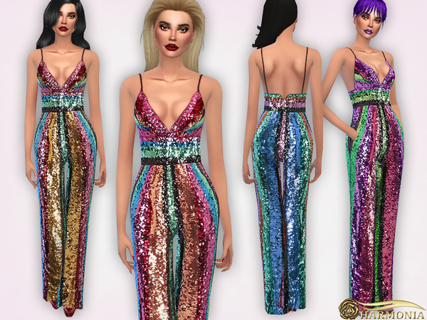 Striped Sequinned Jumpsuit by Harmonia at TSR image 3122 Sims 4 Updates