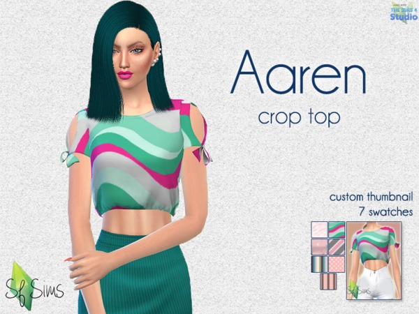 Sims 4 Aaren crop top by SF Sims at TSR