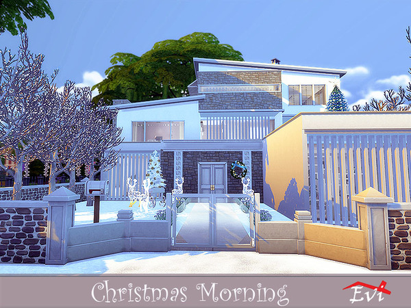 Christmas Morning modern house by evi at TSR image 3210 Sims 4 Updates