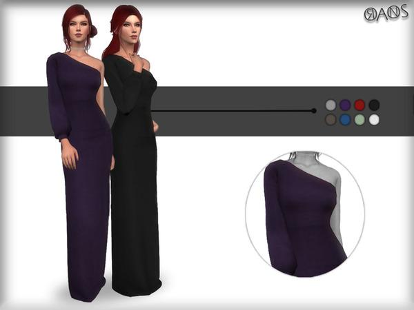 Sims 4 Off Shoulder Maxi Dress by OranosTR at TSR