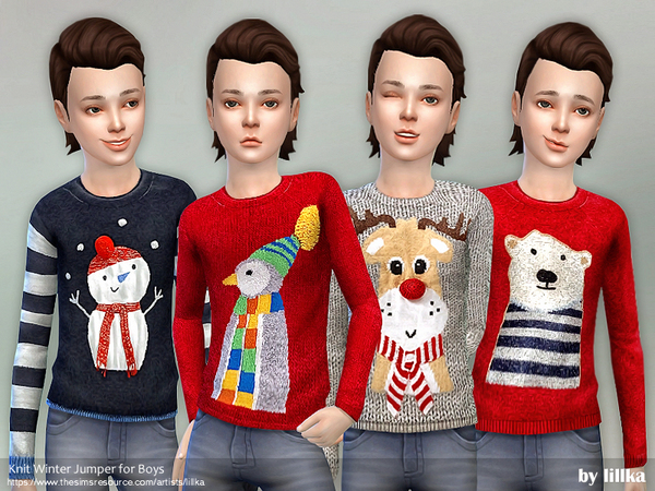 Knit Winter Jumper for Boys by lillka at TSR image 339 Sims 4 Updates