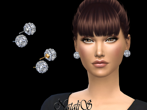 Sims 4 Disco ball stud earrings by NataliS at TSR