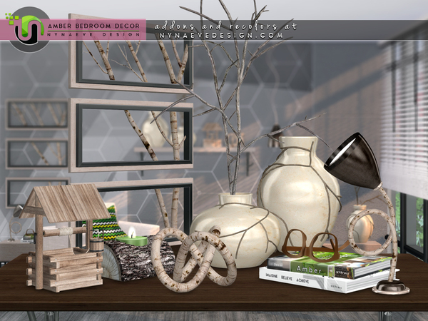 Sims 4 Amber Bedroom Decor by NynaeveDesign at TSR
