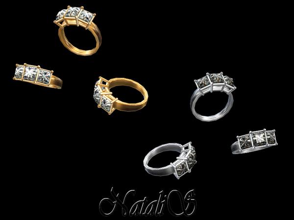 Sims 4 Three stone princess cut ring by NataliS at TSR