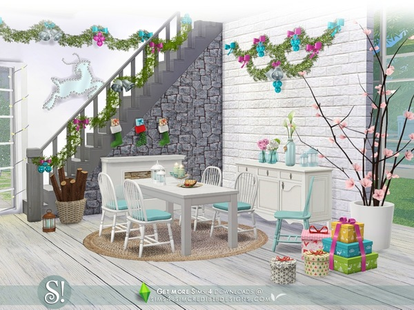 Sims 4 Happy Holidays festive decor items by SIMcredible at TSR