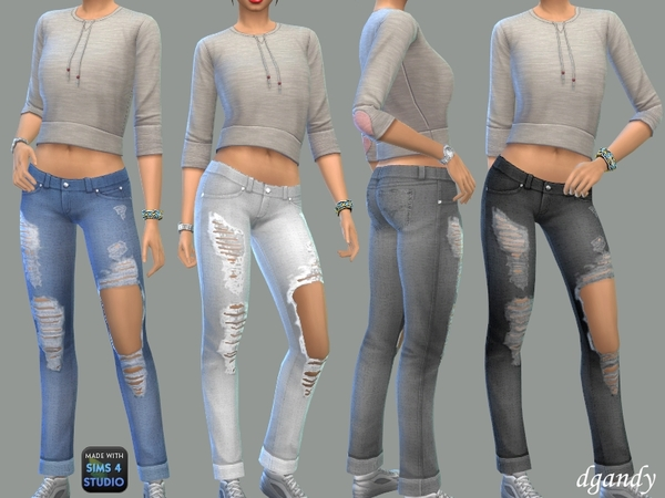 Sims 4 Worn Jeans by dgandy at TSR