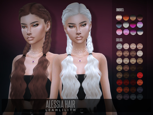 Sims 4 Alessia Hair by Leah Lillith at TSR
