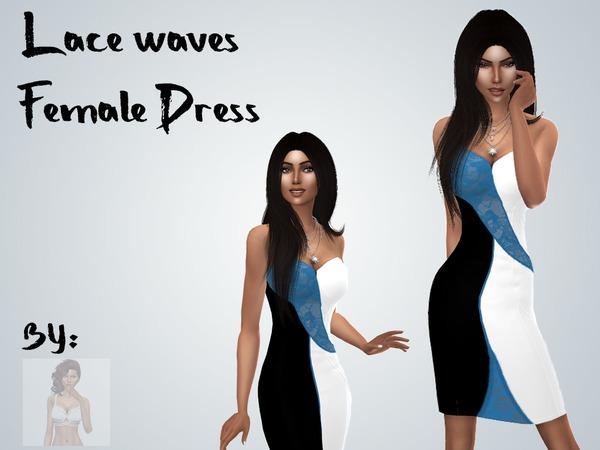 Lace Wave Dress by TheGilbertSim at TSR image 4100 Sims 4 Updates
