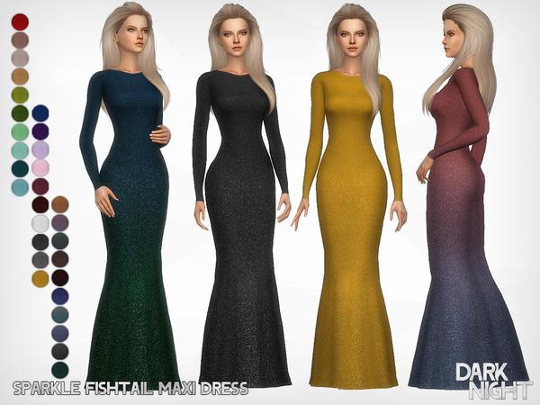 Sims 4 Sparkle Fishtail Maxi Dress by DarkNighTt at TSR