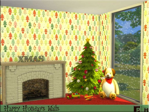Sims 4 Happy Holidays Walls by Pinkfizzzzz at TSR