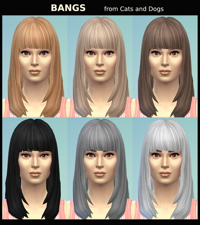 Sims 4 BANGS Hair Recolour for Males and Females by Simmiller at Mod The Sims