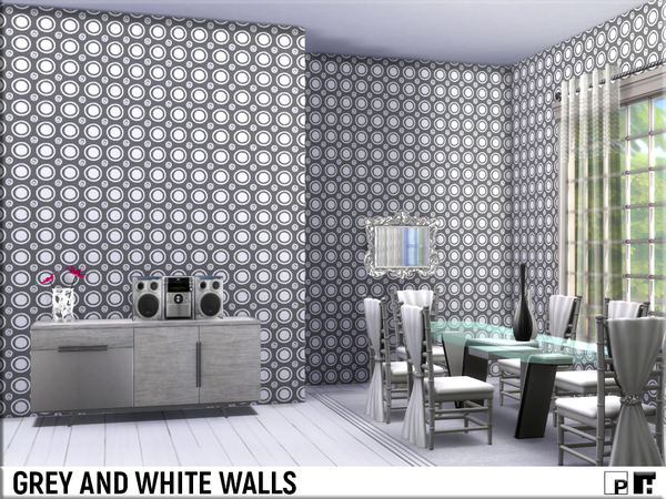Sims 4 Grey and White Walls by Pinkfizzzzz at TSR