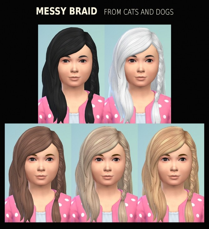 Female Child Hair Messy Braid 21 Recolours by Simmiller at Mod The Sims image 4812 670x732 Sims 4 Updates