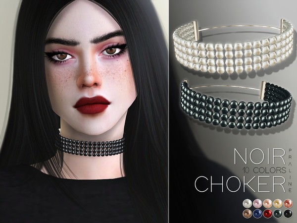Sims 4 Noir Choker by Pralinesims at TSR