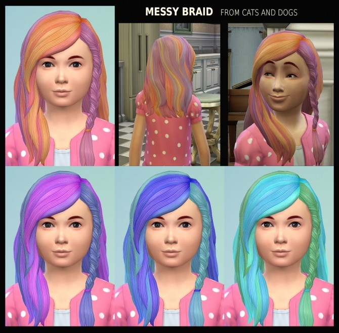 Female Child Hair Messy Braid 21 Recolours by Simmiller at Mod The Sims image 4912 670x658 Sims 4 Updates