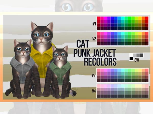 Sims 4 Cat Punk Jacket Recolors by mayrez at TSR