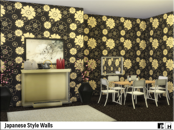 Japanese Style Walls by Pinkfizzzzz at TSR image 5102 Sims 4 Updates