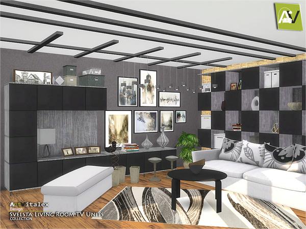 Svelsta Living Room TV Units by ArtVitalex at TSR image 5216 Sims 4 Updates