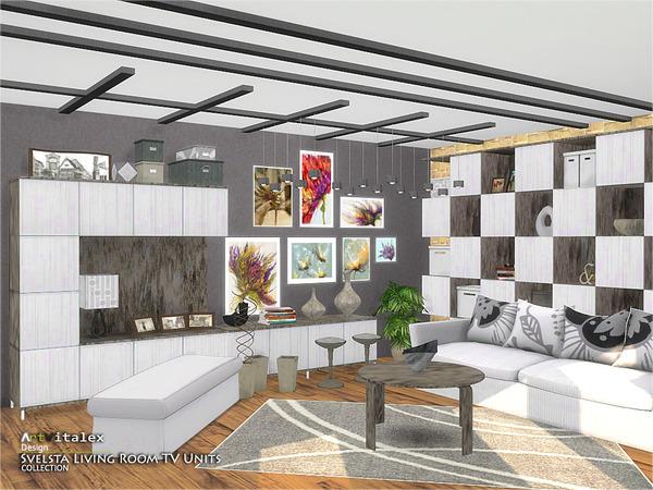 Svelsta Living Room TV Units by ArtVitalex at TSR image 5316 Sims 4 Updates
