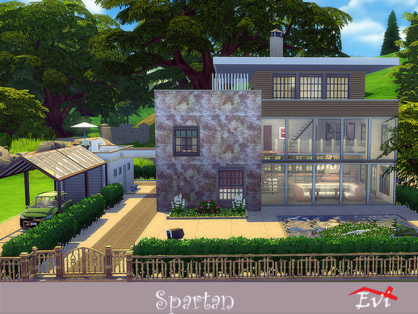 Sims 4 Spartan industrial type of large house by evi at TSR