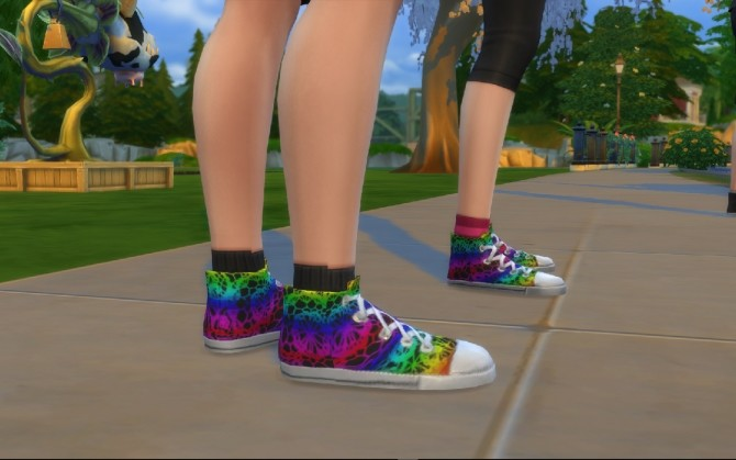 Rainbow Lace on Black Canvas Hitops by MonoChaos at Mod The Sims image 568 670x419 Sims 4 Updates