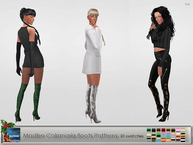Sims 4 Madlen Calamaria Boots Patterns at Elfdor Sims