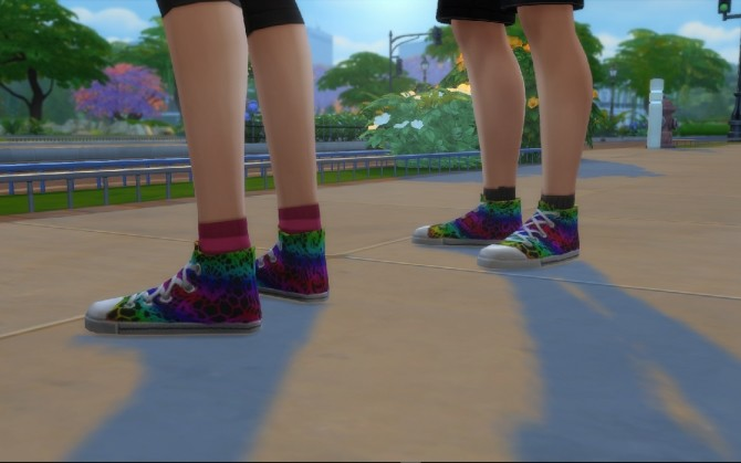 Rainbow Lace on Black Canvas Hitops by MonoChaos at Mod The Sims image 578 670x419 Sims 4 Updates