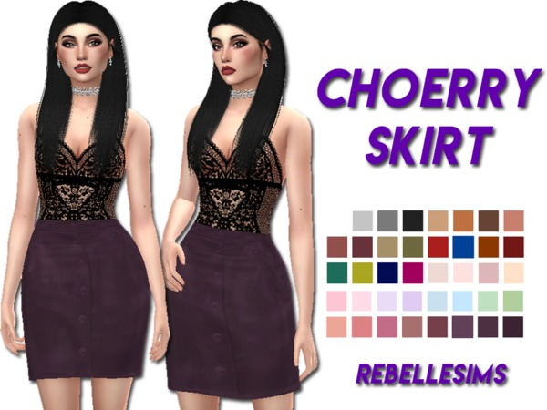 Sims 4 Choerry Skirt by Rebellesims at TSR