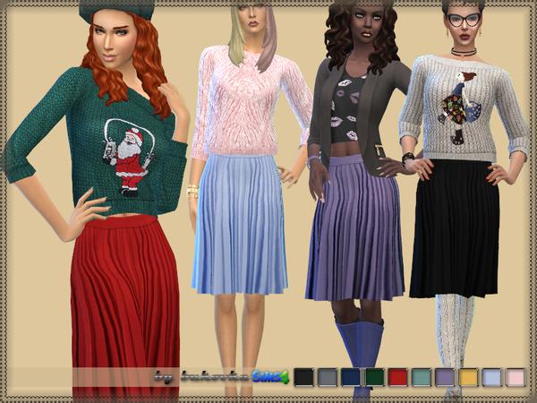 Sims 4 Pleated Skirt by bukovka at TSR