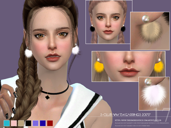 Sims 4 EARRINGS F 201717 by S Club WM at TSR