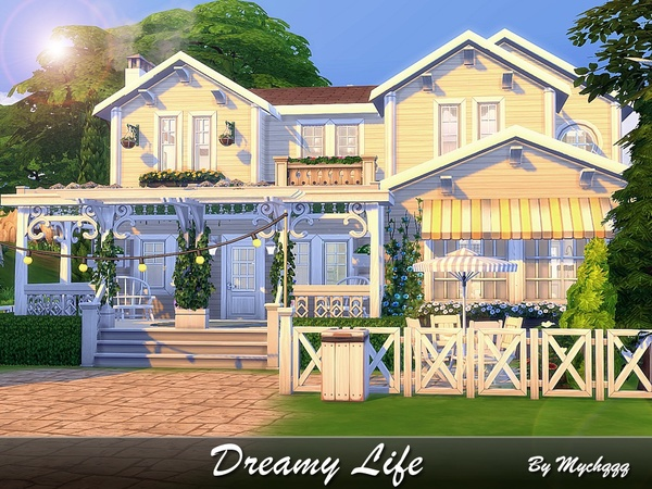 Sims 4 Dreamy Life house by MychQQQ at TSR