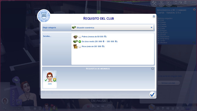 Sims 4 Higher money requeriment for join to Clubs by edespino at Mod The Sims
