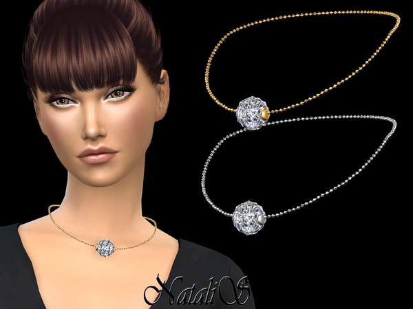 Sims 4 Disco ball pendant necklace by NataliS at TSR