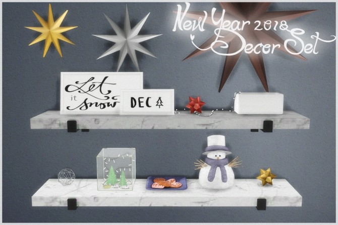 New Year 2018 Decor Set at Helen Sims » Sims 4 Updates