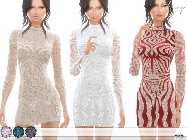 Sims 4 High Neck Embellished Dress by ekinege at TSR