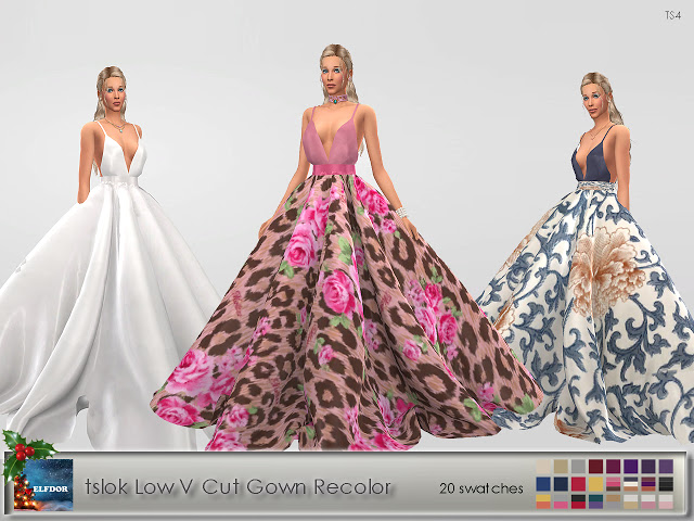 Tslok Low V Cut Gown Recolor at Elfdor Sims image 7310 Sims 4 Updates