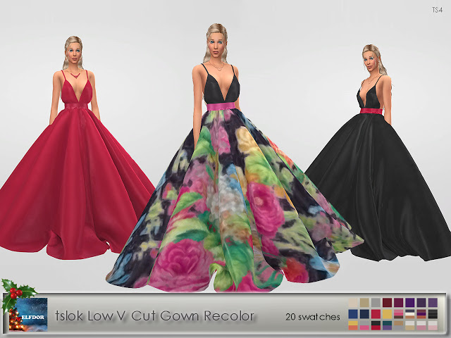 Tslok Low V Cut Gown Recolor at Elfdor Sims image 7410 Sims 4 Updates