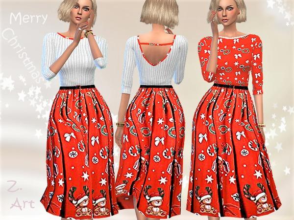 Sims 4 Winter CollectZ 11 long sleeved dress by Zuckerschnute20 at TSR