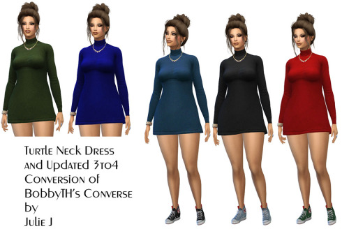 Turtle Neck Dress & BTH Converse at Julietoon – Julie J image 7718 Sims 4 Updates