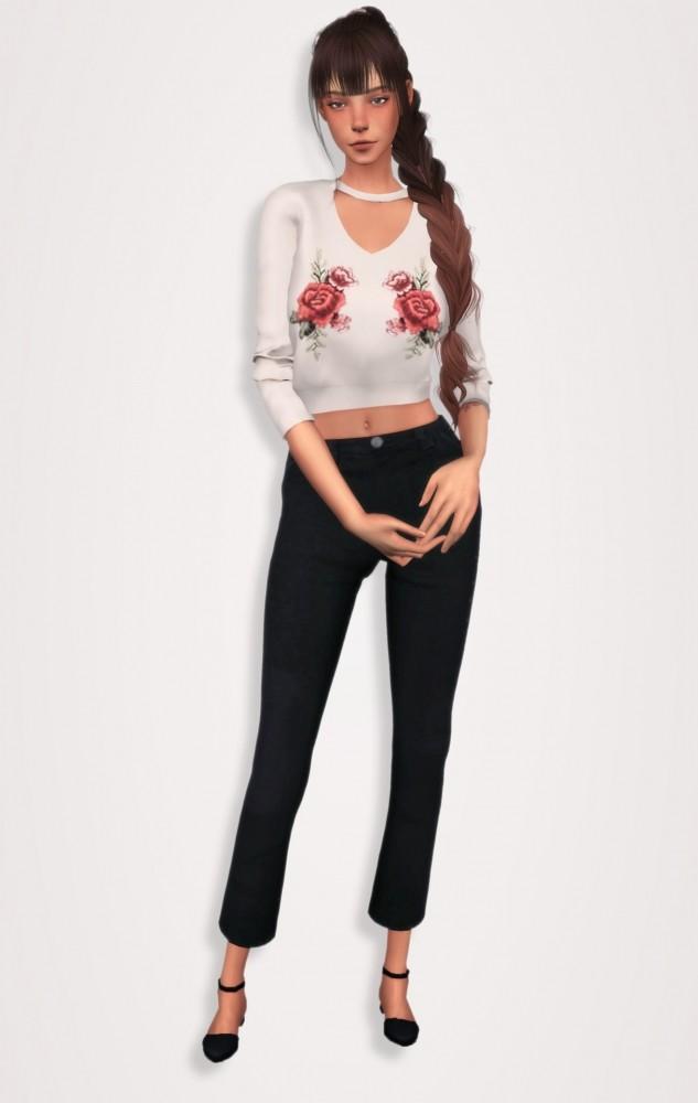 Sims 4 V Cut Choker Neck Jumper & Wide Leg Cropped Pants at Elliesimple