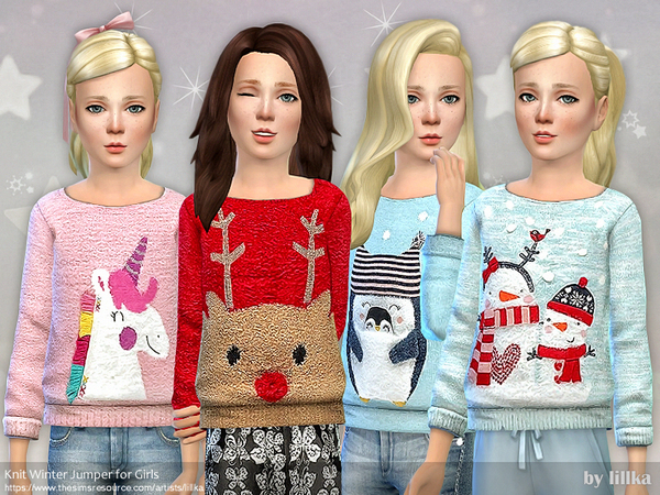 Sims 4 Knit Winter Jumper for Girls by lillka at TSR