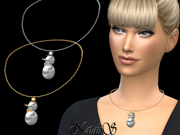 Sims 4 Snowman necklace by NataliS at TSR