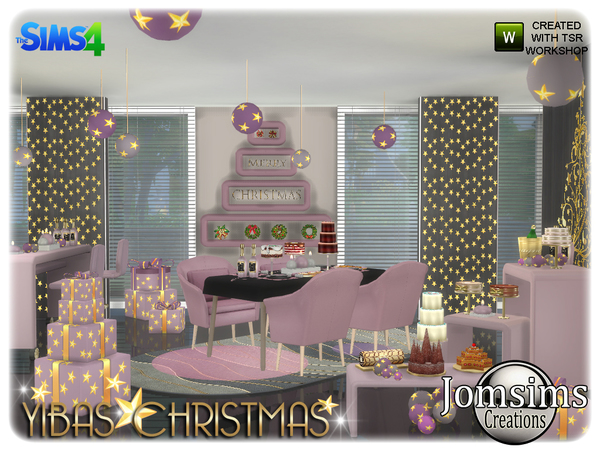 Yibas christmas dining room by jomsims at TSR image 807 Sims 4 Updates