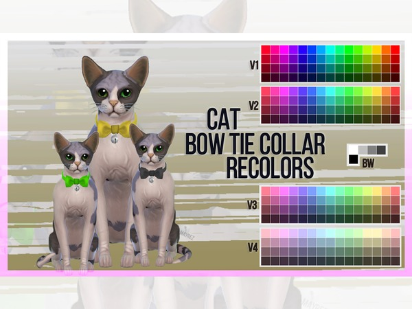 Sims 4 Cat Bowtie Collar Recolor by mayrez at TSR