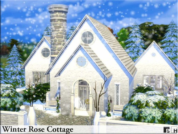 Sims 4 Winter Rose Cottage by Pinkfizzzzz at TSR