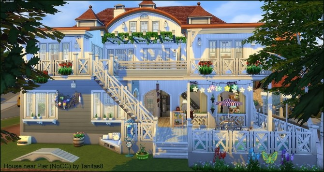 Sims 4 House near Pier (NoCC) at Tanitas8 Sims